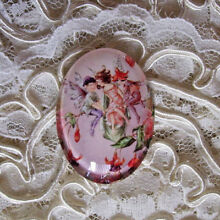 Fairies On Branch 30X40mm Glitter Unset Handmade Art Bubble Cameo Cabochon