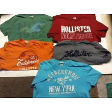 Lot of 5 HOLLISTER California ABERCROMBIE & FITCH short sleeve t shirts LARGE L