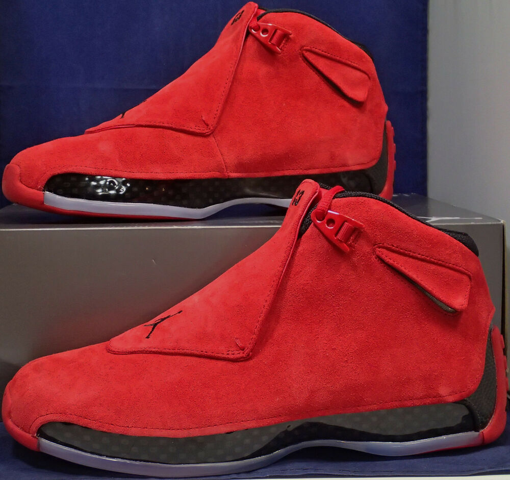 san francisco 34a5e 5d9c1 Details about Nike Air Jordan 18 XVIII Retro Toro Gym Red Black Suede SZ 10  ( AA2494-601 )