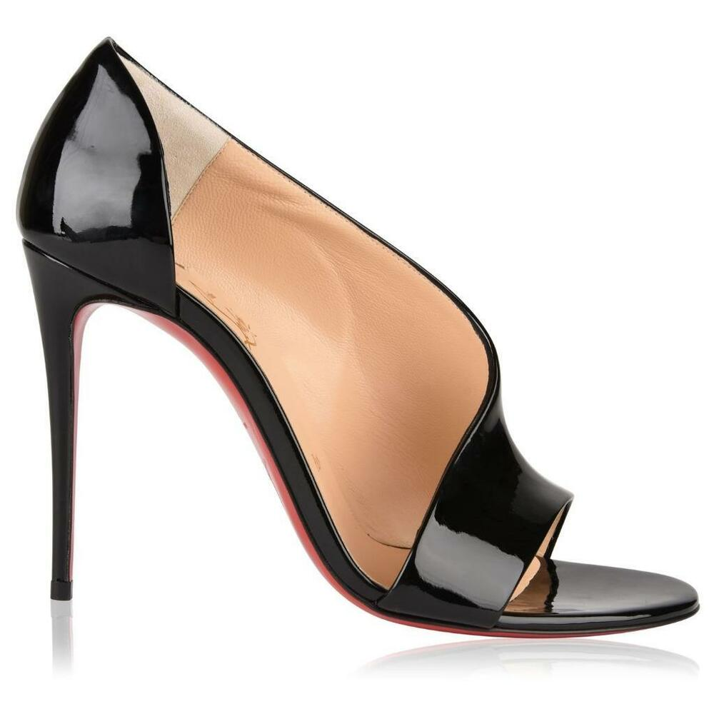 d58473d65f Details about Christian Louboutin PHOEBE 100 Asymmetric Patent Heels Pumps  Shoes Black $795