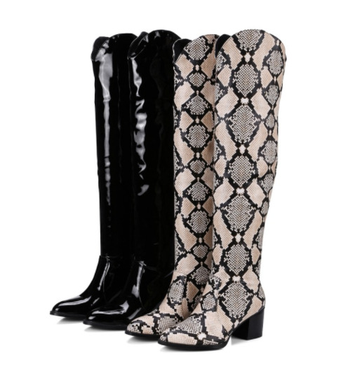 752c2c1fb27 Details about Womens Sexy Boots Knee High Snakeskin Block Boots Patent  Leather Shoes Plus Size