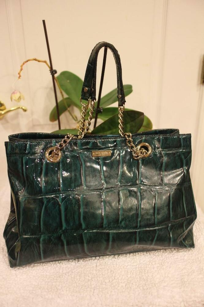 bb149ab77024 Details about KATE SPADE Helena Knightsbridge Croc Patent Large Leather  Chain Tote (u500