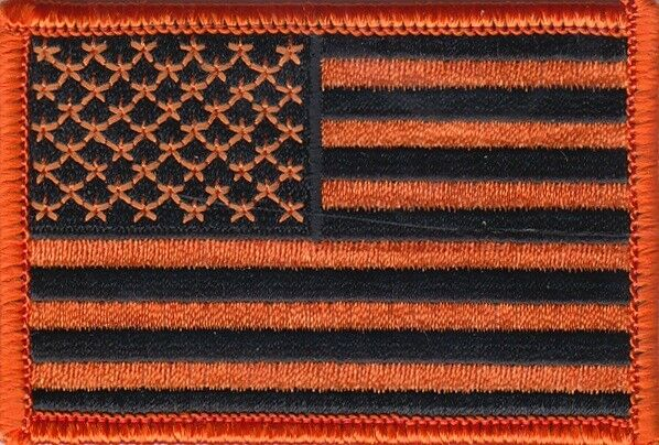 3 Pcs USA American Flag (Orange/Black) Embroidered Patches 3