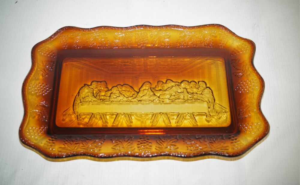 Details about Vintage Tiara Indiana Glass Amber Brown Last Supper Plate  Dish Plaque