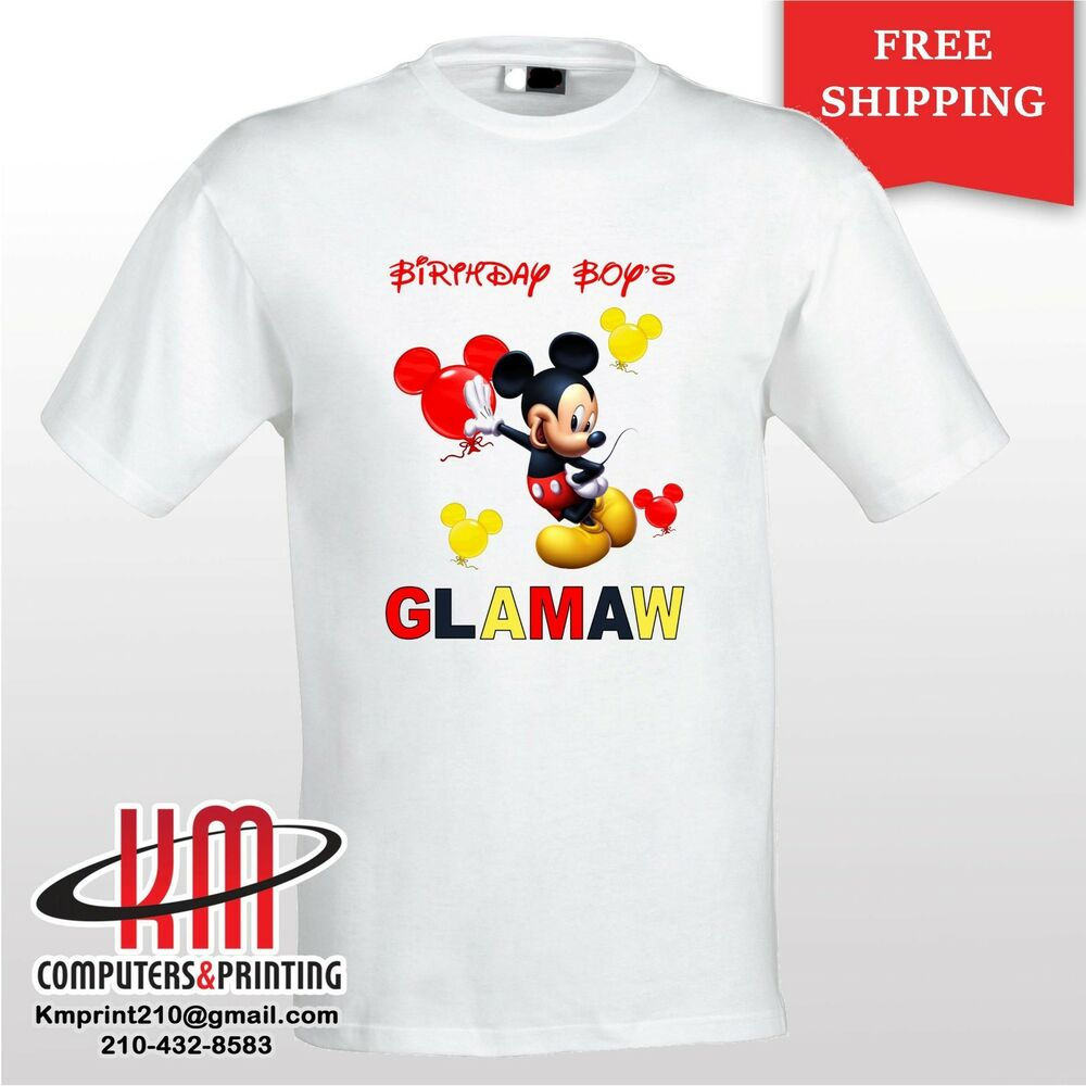 Details About Mickey Mouse Custom T Shirt PERSONALIZED Birthday