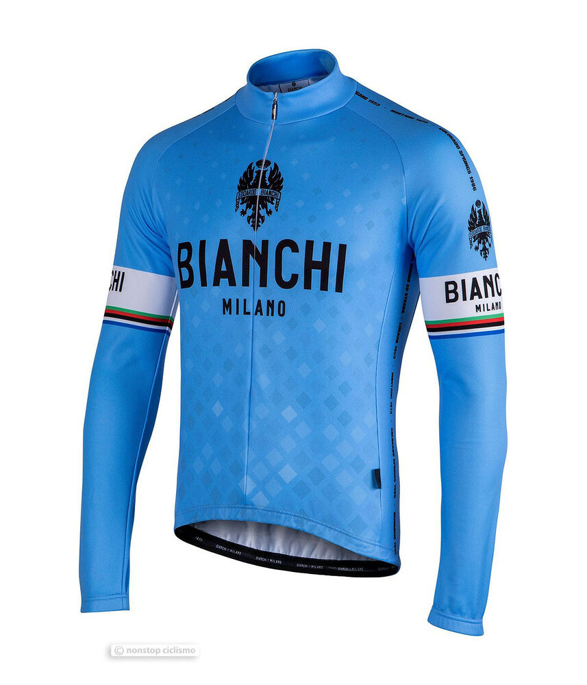 Details about Bianchi Milano LEGGENDA Lightweight Long Sleeve Cycling Jersey    BLUE 59beef624