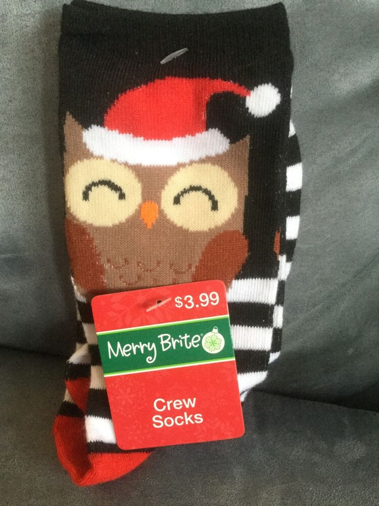 5ccb8c5b7d Details about CVS MERRY BRIGHT CHRISTMAS OWL CREW SOCKS 1 PAIR FITS WOMEN'S  SIZE 9-11