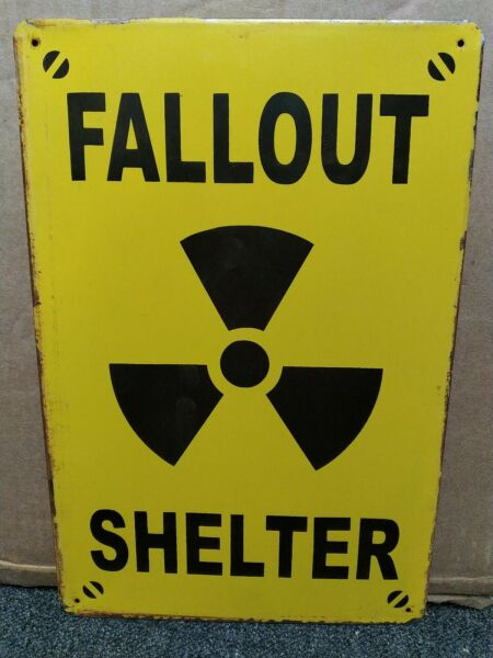 FALLOUT SHELTER, SMALL  METAL VINTAGE-STYLE METAL  SIGN 30X20cm, NUCLEAR BUNKER