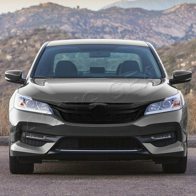 Details About Fit 2016 2017 Honda Accord Sedan Matt Black Honeycomb Abs Front Grille Grill