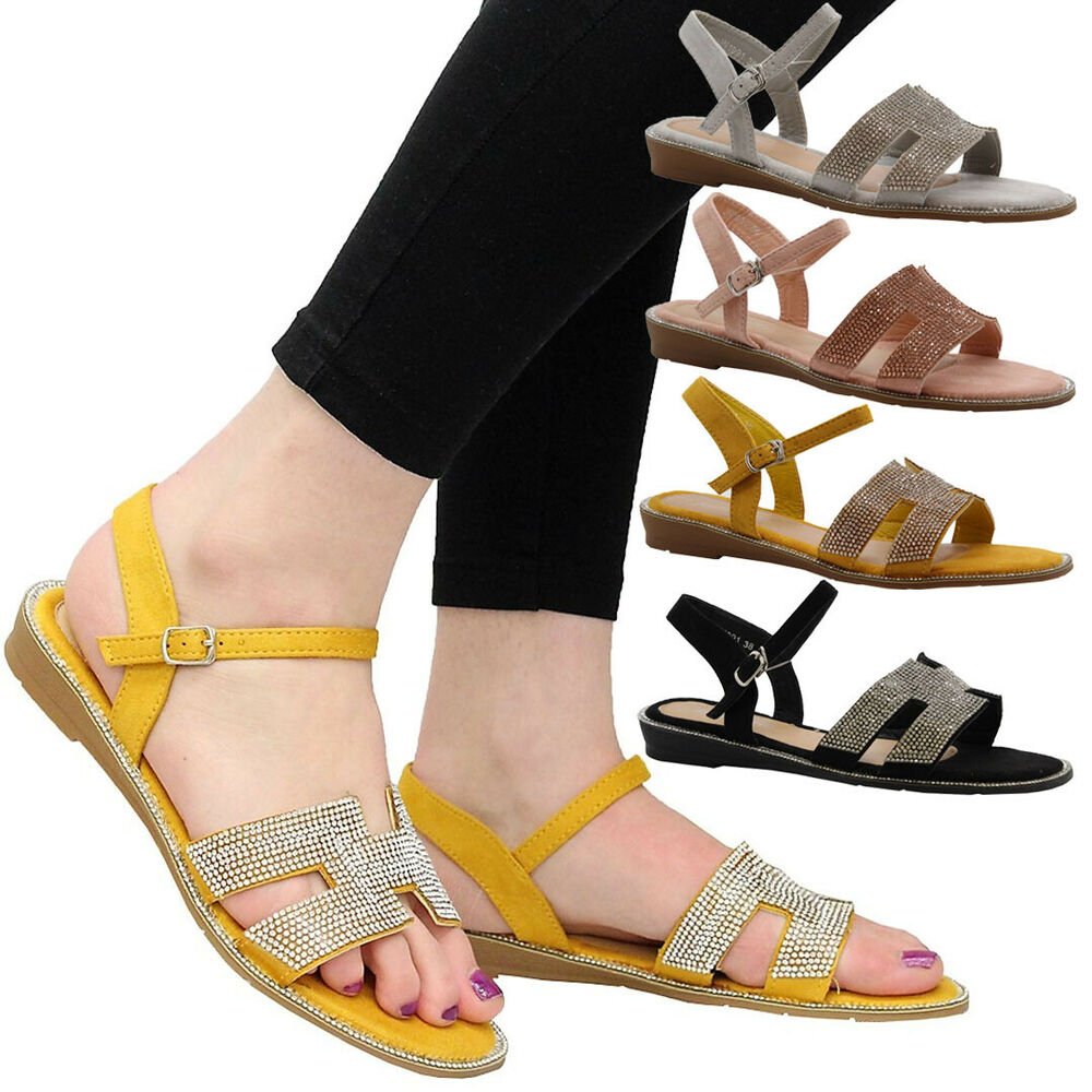 7b3c14d9825e Details about Ladies Womens Flat Party Comfy Open Toe Beach Diamante Summer Sandals  Shoes Size