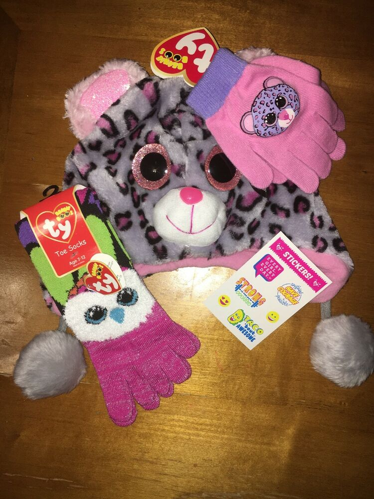 2418db1c533 Details about Ty Beanie Boo Plush Tasha Hat Gloves Aria Toe Socks NWT  Justice Stickers