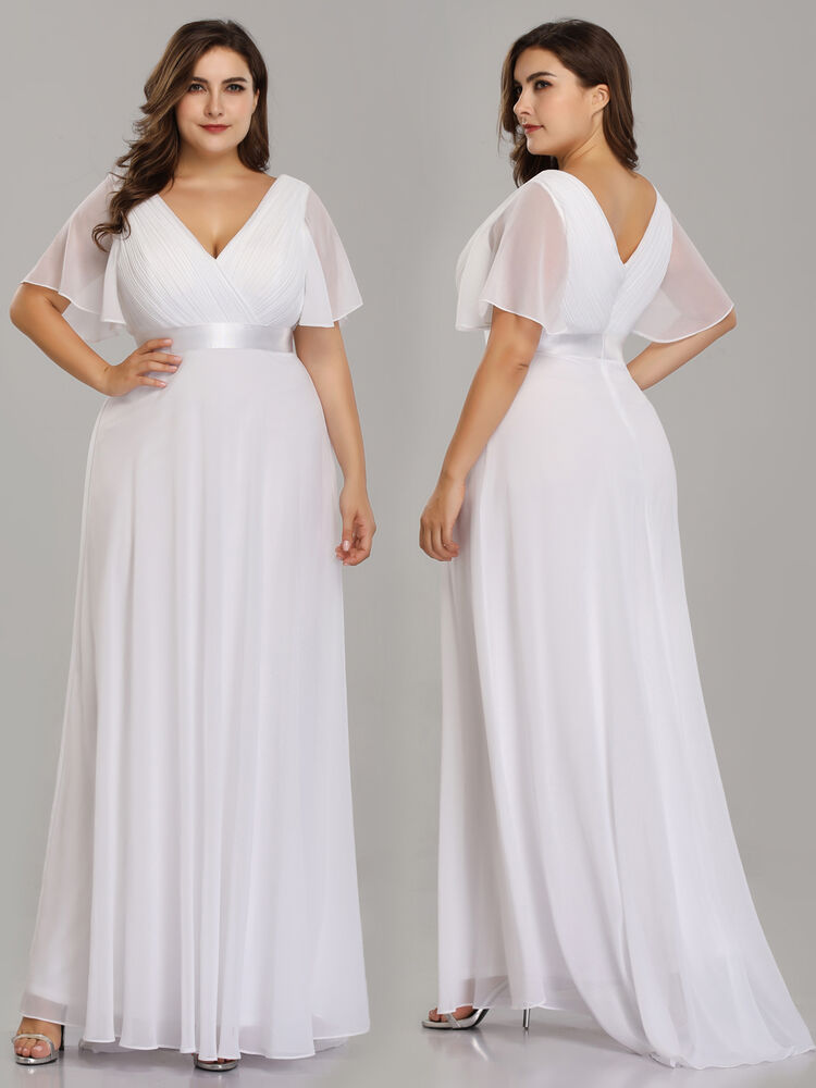 acedca38774 Details about Ever-Pretty White Plus Size Chiffon Maxi Evening Dresses  Wedding Ball Gowns 9890