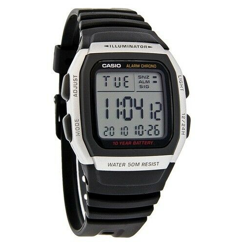 Casio W96H 1AV, 50 Meter Chronograph Watch, Black Resin Strap, Alarm, Date 79767751098 | eBay