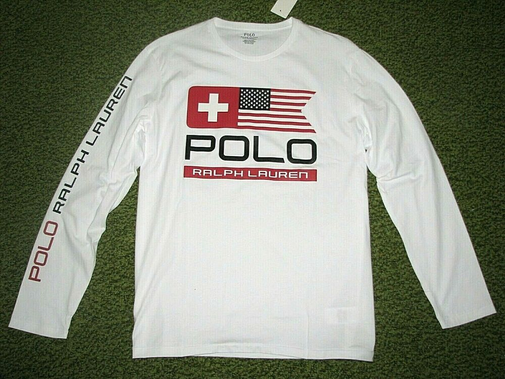 61983dd3969 Details about Men s (L) POLO-RALPH LAUREN White Nordic  USA FLAG Long  Sleeve T-Shirt