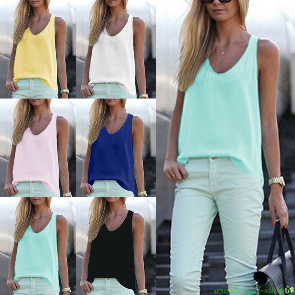 f50f66e5ad3 Details about Women Sleeveless Chiffon Vest Tank Tops Loose T-Shirt Blouse  Tops Shirts Summer