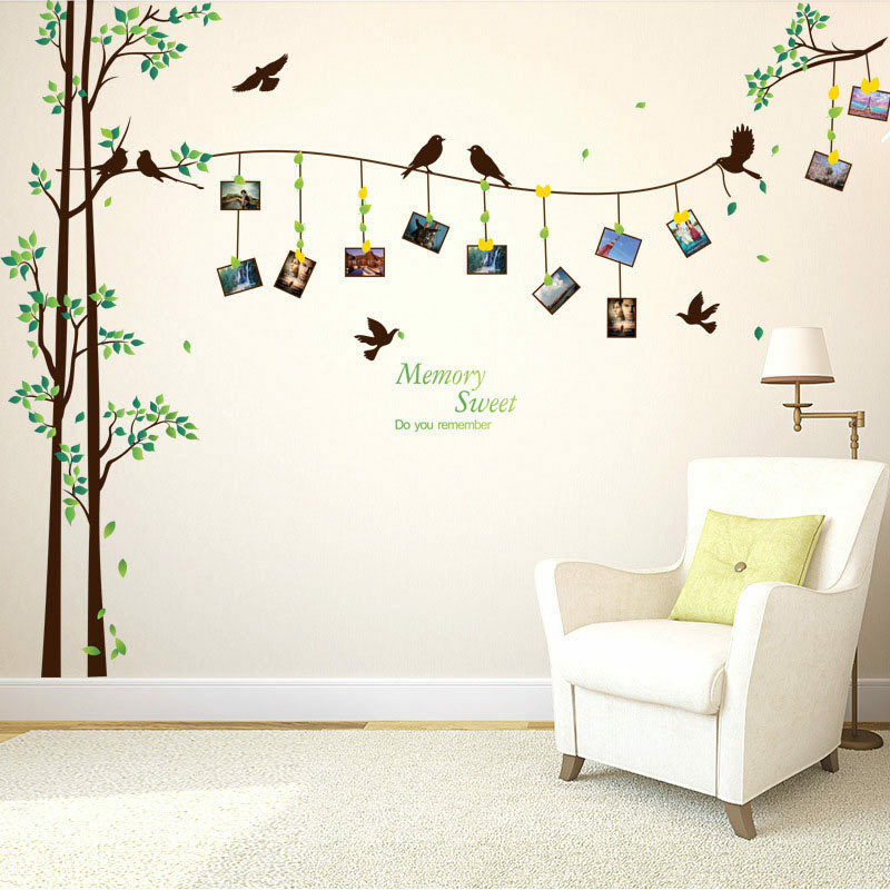 family tree bird photo frame wall stickers removable art decals home