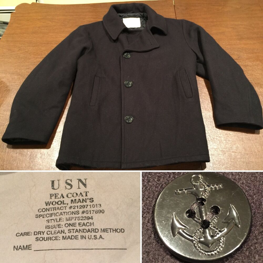 12b2a1385d9 Details about Men s Size XL Black Wool Authentic MILITARY NAVY PEACOAT COAT  Jacket Extra-Large