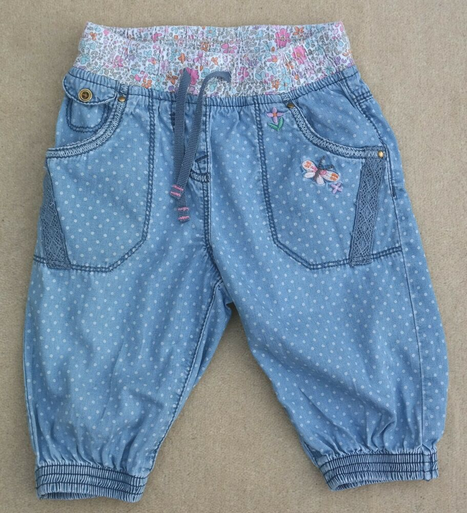 9fed065a1d Details about NEXT Girls Elasticated Spotty Flower Butterfly Jeans Blue  Cotton 12-18 Months