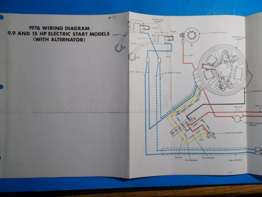 1976 Johnson Outboard Motors 9 9hp  U0026 15hp Electric Start Wiring Diagram