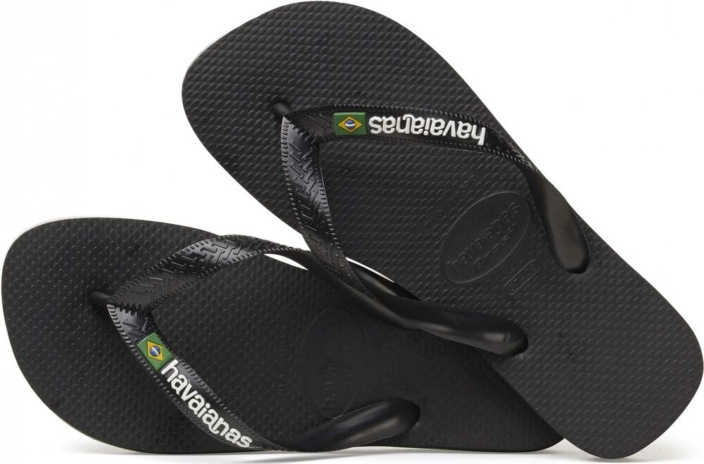 45905024b Havaianas BRASIL LOGO Mens Summer Beach Pool 100% Rubber Flip Flops Black  New