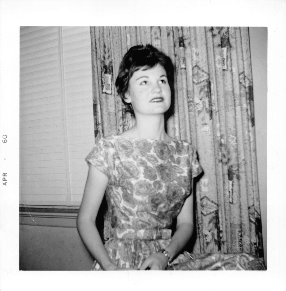 Details about girl looking up flower dress curtain pattern black white photo snapshot 1960s