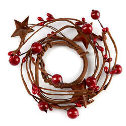Kyпить Set of 6 Hand Wrapped Red Mixed Berry Mini Candle Rings with Rusty Stars на еВаy.соm