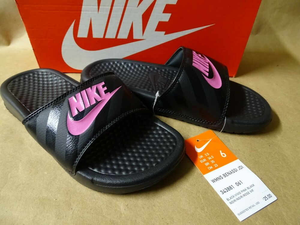 2f96caa5e273 Details about NEW Nike Benassi JDI Slide Women s Size 6-11 Black Vivid Pink  Sandals Pool Shoes