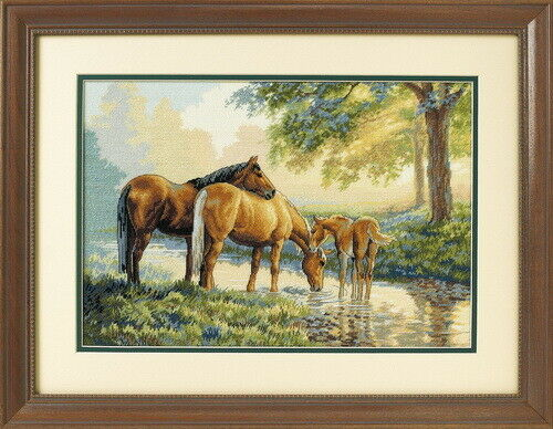 Dimensions Counted Cross Stich the Gold Collection HORSES BY A STREAM 35174