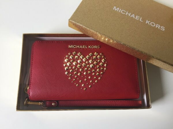 43e4dc08032ad MICHAEL KORS Portemonnaie GIFTABLES LG FLAT CASE Leather scarlet gold