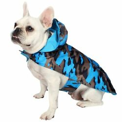 REVERSIBLE DOG PET JELLY WELLIES CAMO & SOLID RAINCOAT SIZE LARGE BROWN BLUE NEW