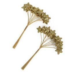 Kyпить Gold Glitter Star Shaped Picks for Christmas Holiday Florals & More - 144 P на еВаy.соm