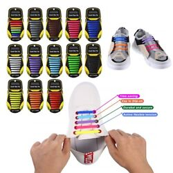 Kyпить No Tie Shoelaces Elastic Shoe Laces Silicone Rubber For Kids Adults Sneakers  на еВаy.соm