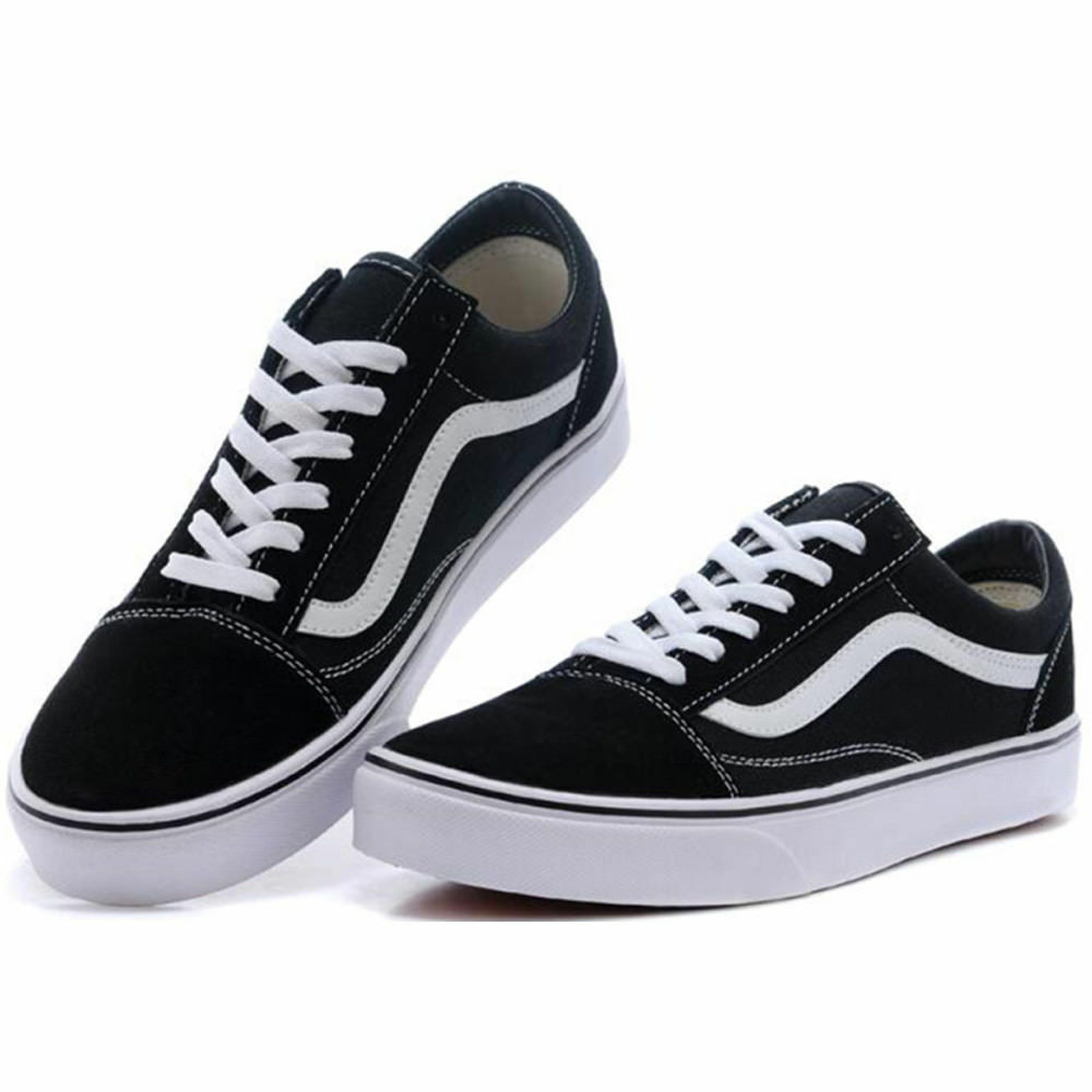 9a4ae810b3 Details about VAN Old School Skate Shoes Black White Classic Canvas Sneaker UK  Size UK3-UK9.5