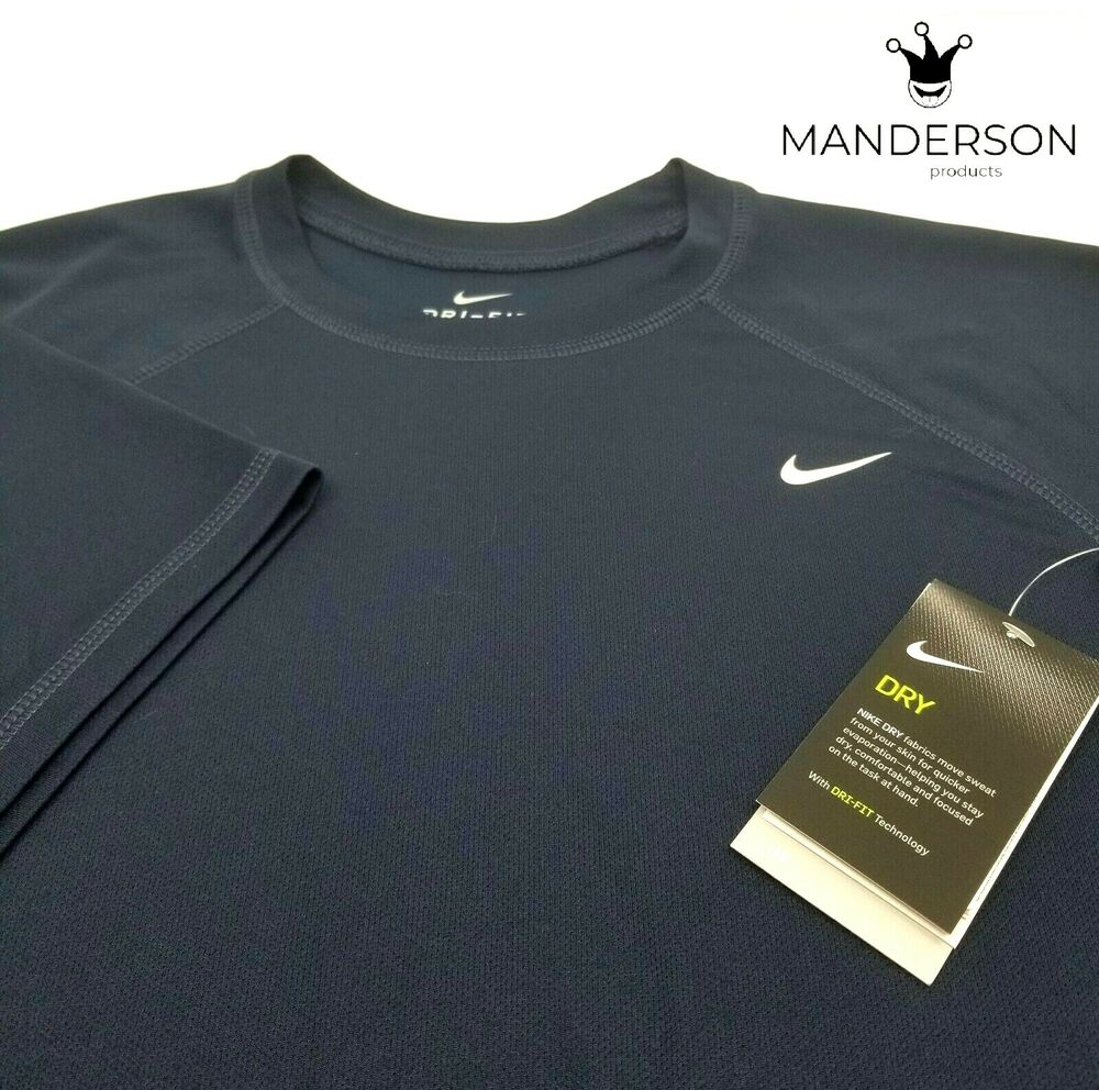 8b0b1222 Details about NWT Nike Dri-Fit Short Sleeve T Shirt size M Navy Blue UPF 40  UV Protection Med