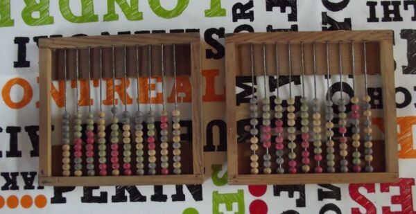Old abacus 1950 wood vintage French school, Pedagogy Montessori Ancien Boulier