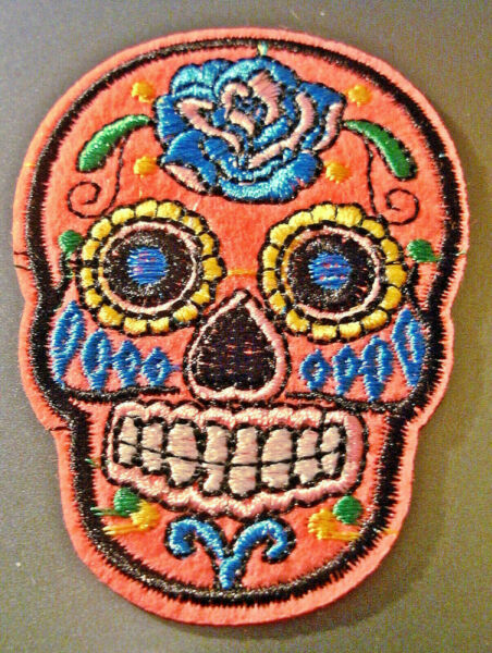 ecusson patch Calavera - crane - style mexicain / rose vif ( presque fluo)