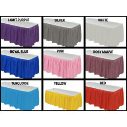 Table SKIRT 14 ft x 29''  Pleated Plastic Disposable Waterproof Choose Color