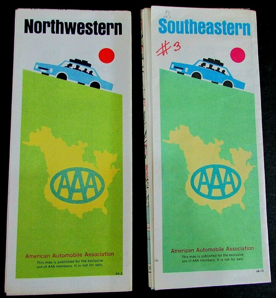 Two Vintage 1968 Aaa Road Maps Northwestern And Southeastern Us - Us-road-maps-for-sale