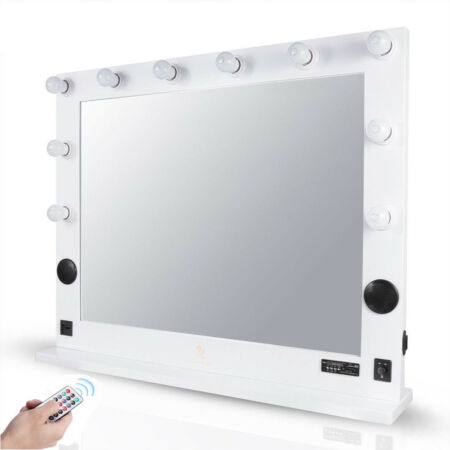 img-Extra Large Artist Cosmetic Makeup Mirror with Led Light, Bluetooth Speaker, USB