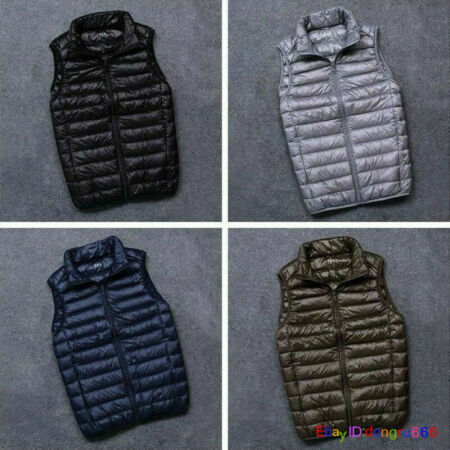 img-Mens Duck Down Padded Quilted Gilet Vest Bubble Sleeveless Jacket Waistcoat Top