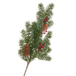 Iced Artificial Spruce Pine and Berry Spray | 2 Pieces