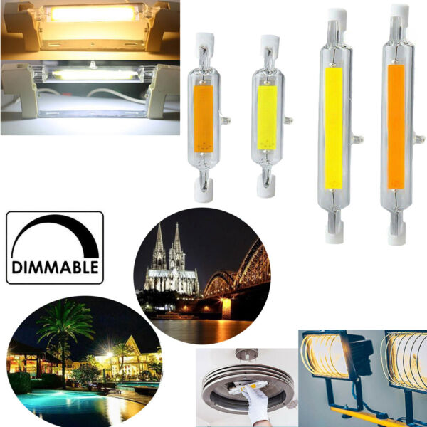 R7S LED 78/118mm Dimmable Glass Tube Light 7W 12W 15W 25W Replace Halogen Lamp M