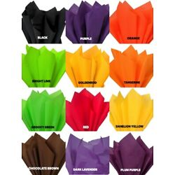 HALLOWEEN Colors Tissue Paper Sheets 15'' x 20'' Choose Color and Pack Amount