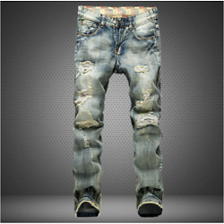 Kyпить Men Ripped Biker Skinny Jeans Frayed Pants Casual Slim Fit Jogger Denim Trousers на еВаy.соm
