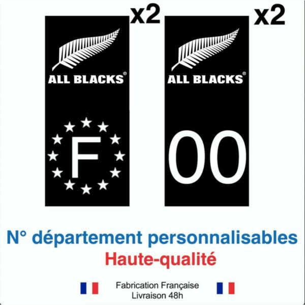 Stickers autocollant plaque d'immatriculation ALL BLACKS RUGBY voiture NOIR