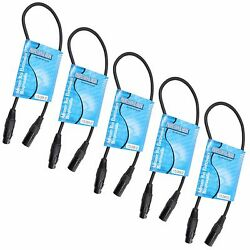 5 pack 2 ft foot feet long 3 pin Male to Female XLR shielded DMX data cable cord