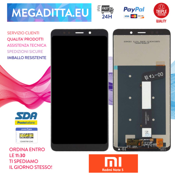 SCHERMO LCD DISPLAY PER XIAOMI REDMI NOTE 5 NERO VETRO TOUCH SCREEN