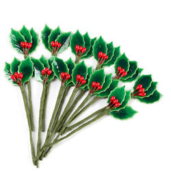 Factory Direct Craft Miniature Lacquered Holly Leaf Picks | Set of 36 Picks