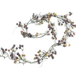 Factory Direct Craft 6 Foot Artificial Purple and Green Berry Garland