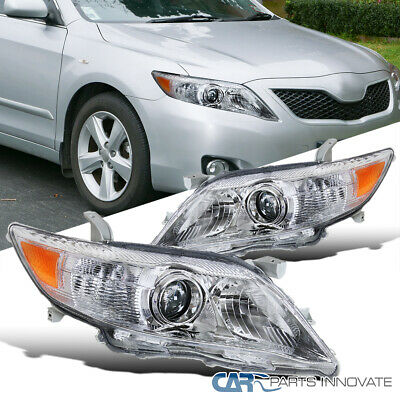 Fit 10-11 Toyota Camry Clear Lens Projector Headlights Head Lights Lamps Pair